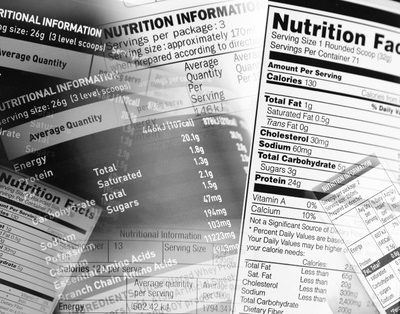 44097455 - nutrition information facts on assorted food labels